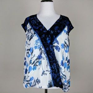 Adrianna Papell Blue White Floral Wrap Blouse Top